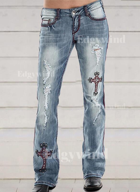Embroidery Plus Size Ripped Elegant Skinny Denim & Jeans