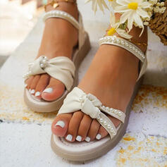 Women's PU Flat Heel Sandals Peep Toe With Pearl Solid Color shoes
