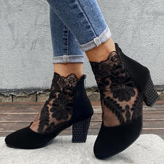 Women's Suede Chunky Heel Ankle Boots Pointed Toe With Stitching Lace shoes