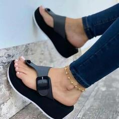 Women's PU Flat Heel Sandals Peep Toe Flip-Flops Slippers Round Toe With Buckle shoes