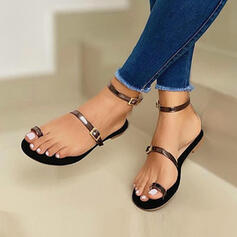 Women's PU Flat Heel Sandals Peep Toe Toe Ring With Buckle Hollow-out Solid Color shoes