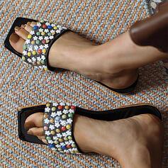 Women's PU Flat Heel Sandals Peep Toe Square Toe With Beading shoes