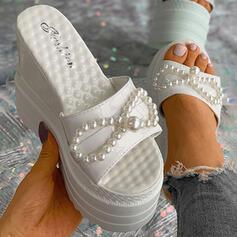 Women's PU Wedge Heel Sandals Platform Wedges Peep Toe Slippers Heels With Imitation Pearl Solid Color shoes
