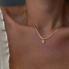 Letter Shining Simple Initial Zircon Copper Women's Necklaces