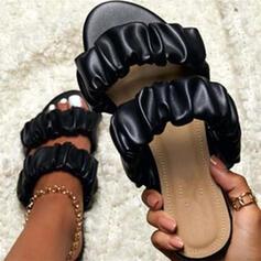 Frauen Kunstleder Flascher Absatz Sandalen Peep Toe mit Einfarbig Schuhe