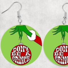 Hottest Christmas Grinch Wood Women's Earrings 2 PCS