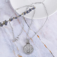 Charming Pretty Artistic Romantic Alloy With Imitation Stones Circle Decor Women's Necklaces
