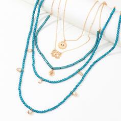 Boho Geschichtet Legierung Perlen mit Strass Halsketten 5 PCS