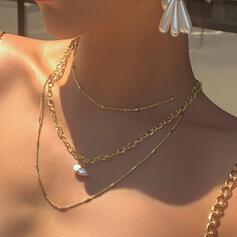 Gliederkette Künstlerische Legierung mit Nachahmungen von Perlen Schmuck Sets Halsketten 3 PCS