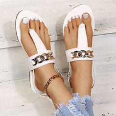 Women's PU Flat Heel Sandals Peep Toe With Chain Solid Color shoes