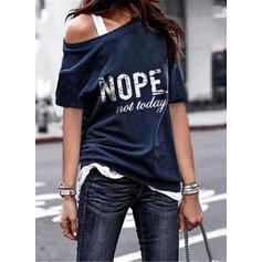 Print Letter Round Neck 1/2 Sleeves T-shirts