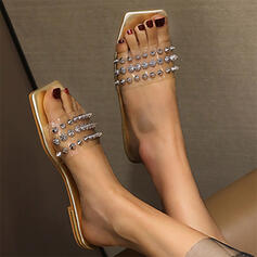 Women's PU Flat Heel Sandals Peep Toe Square Toe With Rivet shoes