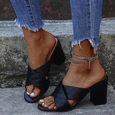 Women's PU Chunky Heel Sandals Peep Toe Slippers With Rhinestone Solid Color Crisscross shoes