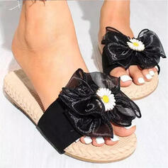 Women's Suede Flat Heel Sandals Peep Toe With Solid Color Floral Print shoes
