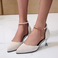 Frauen PU Stöckel Absatz Absatzschuhe mit Perlstickerei Schnalle Schuhe