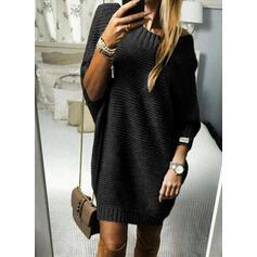 Einfarbig Gerippt Rundhalsausschnitt Freizeit Lang Pulloverkleid