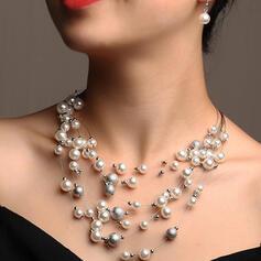 Glänzende Elegant Geschichtet Legierung Faux-Perlen Schmuck Sets Halsketten Ohrringe 3 PCS