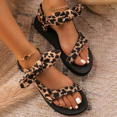 Women's PU Flat Heel Sandals Flats Peep Toe With Bowknot Velcro shoes