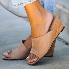Frauen Veloursleder Keil Absatz Sandalen Keile Peep Toe Pantoffel mit Einfarbig Schuhe