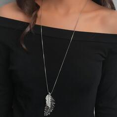 Glänzende Einfache Blätter Förmig Boho Legierung Halsketten