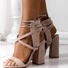 Women's Suede Chunky Heel Sandals Pumps Peep Toe Heels With Lace-up Solid Color shoes