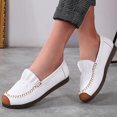 Women's PU Flat Heel Flats Low Top Round Toe With Ruched Splice Color shoes