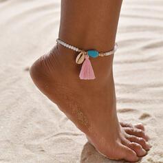 Stilvoll Boho Legierung Kristall Flechtschnur mit Quasten Schale Strandschmuck Fußkettchen