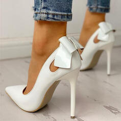 Women's PU Stiletto Heel Pumps Closed Toe With Bowknot Hollow-out shoes