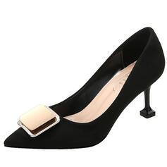 Frauen Veloursleder Stöckel Absatz Absatzschuhe Spitze mit Bowknot Schuhe