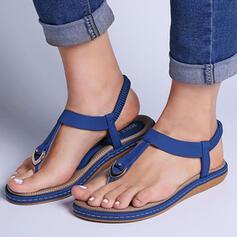 Frauen PU Flascher Absatz Sandalen Peep Toe Low Top Zehenring mit Hohl-out Gummiband Einfarbig Schuhe