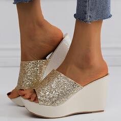 Women's PU Wedge Heel Sandals Wedges Peep Toe Slippers Heels With Sequin Sparkling Glitter shoes