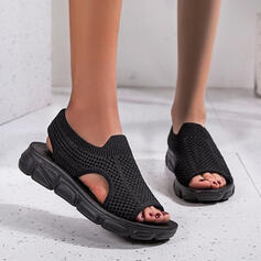 Women's Cloth Mesh Flat Heel Flats Round Toe Sneakers Loafers & Slip-Ons With Elastic Band Solid Color shoes