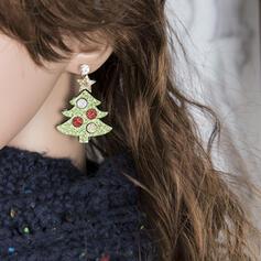 Bunte Klassische Art Weihnachten Stoff Legierung mit Strass Frauen Ohrringe 2 STÜCK