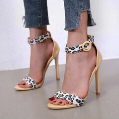 Women's PU Stiletto Heel Sandals Pumps Peep Toe Round Toe With Buckle Animal Print Hollow-out shoes