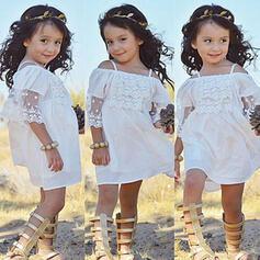 Mädchen Rüschen Einfarbig Spitze Baumwolle Kleid