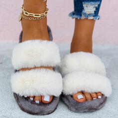 Women's Fake fur Flat Heel Flats Slippers With Faux-Fur Solid Color shoes