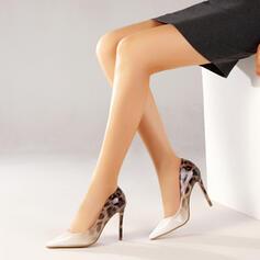 Frauen PU Stöckel Absatz Absatzschuhe Spitze mit Spleißfarbe Farbblock Schuhe