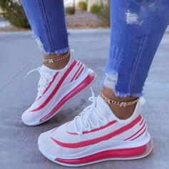 Women's Flying Weave Flat Heel Flats Sneakers With Lace-up Stripe shoes
