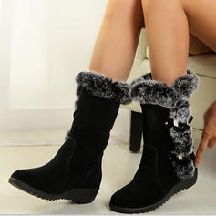 Women's Suede Low Heel Chunky Heel Boots Mid-Calf Boots High Top With Buckle Solid Color shoes