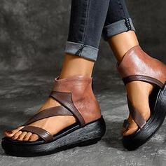 Frauen PU Flascher Absatz Sandalen Keile Peep Toe mit Reißverschluss Schuhe