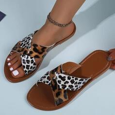 Women's PU Flat Heel Sandals Peep Toe Slippers With Animal Print Crisscross shoes