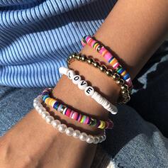 Schreiben Bunte Boho Geschichtet Perlen Armbänder 5 PCS