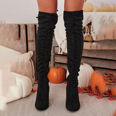 Women's Suede Chunky Heel Over The Knee Boots Riding Boots Round Toe With Ruched Zipper Solid Color shoes