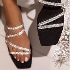 Frauen Funkelnde Glitzer Flascher Absatz Sandalen Peep Toe Pantoffel mit Strass Funkelnde Glitzer Schuhe