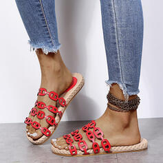 Women's PU Flat Heel Sandals Peep Toe Slippers With Chain Hollow-out shoes