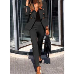 Solid Elegant Vintage Suits