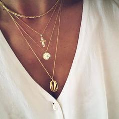Kreuz heißeste Legierung mit Schale Münze Halsketten Strandschmuck (Satz 4)