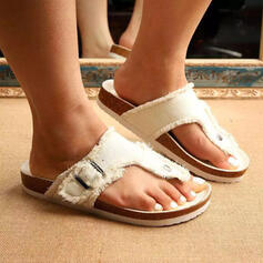 Women's Canvas Flat Heel Sandals Flats Flip-Flops Slippers Round Toe With Buckle Solid Color shoes