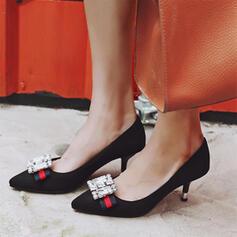 Frauen Veloursleder Stöckel Absatz Absatzschuhe Spitze mit Strass Schuhe