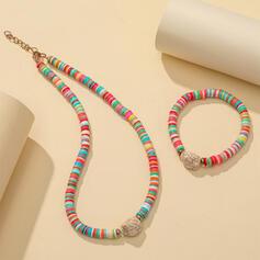 Exotisch Bunte Boho Legierung Weichen Lehm mit Strass Schmuck Sets Halsketten Armbänder (Set von 2)